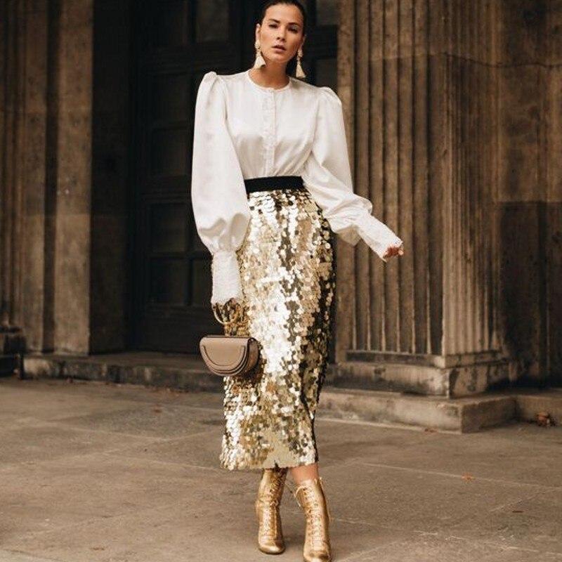 European Style Long Skirt Ankle Length Sequined Skirt Jupe Femme Women Skirts Gold Faldas