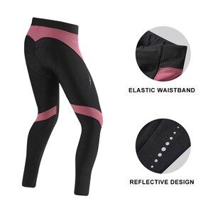 Image 2 - Santic Women Winter Cycling Pants Warm MTB Bike Pants Pro fit 4D Padding Reflective Comfortable Asia Size S XXL L9C04114