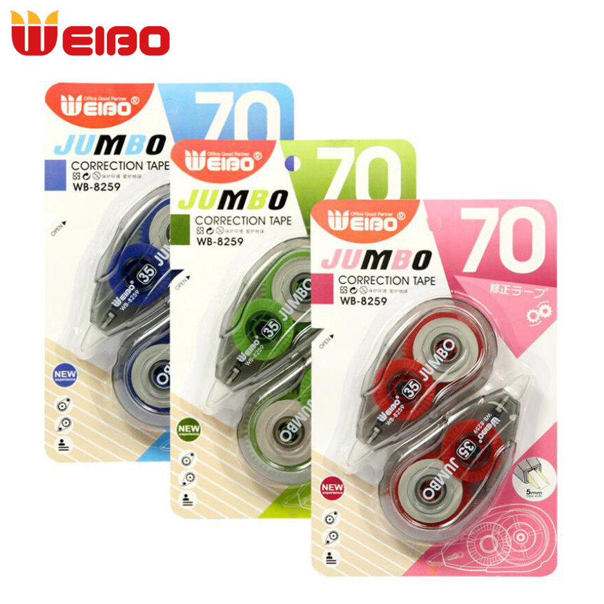 WEIBO 2PCS/Set Colored Correction Tape Material Stationery Office Kids Student School Supplies 12m*2 Corrector Tape 3 Colors