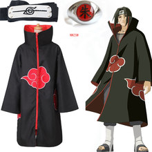 Anime naruto akatsuki manto cosplay traje uchiha itachi anel bandana presentes dos homens sasuke manto capa capa carnaval dia das bruxas