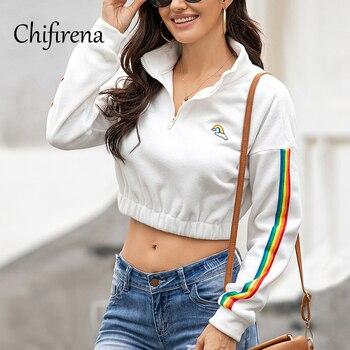 Chifirena Long Sleeve Short Hoodie Women Stand Collar Zip Workout Sweatshirts Exposed Navel Winter Plush White Black Hoodies Top
