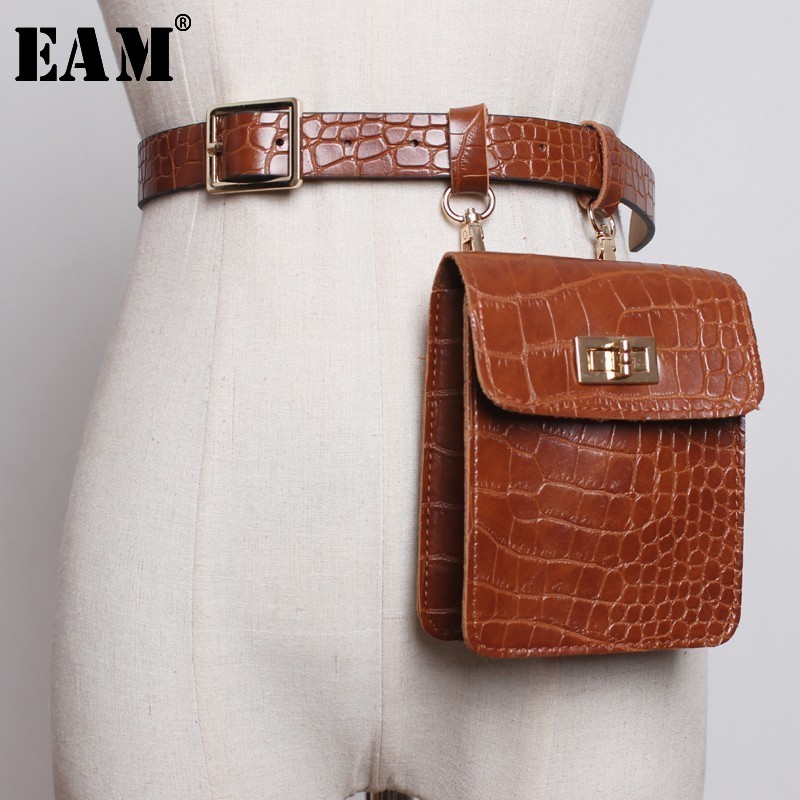 [EAM]  Camel Mini-bag Stitch Buckle Long Wide Pu Leather Belt Personality Women New Fashion Tide All-match Spring 2020 JL358