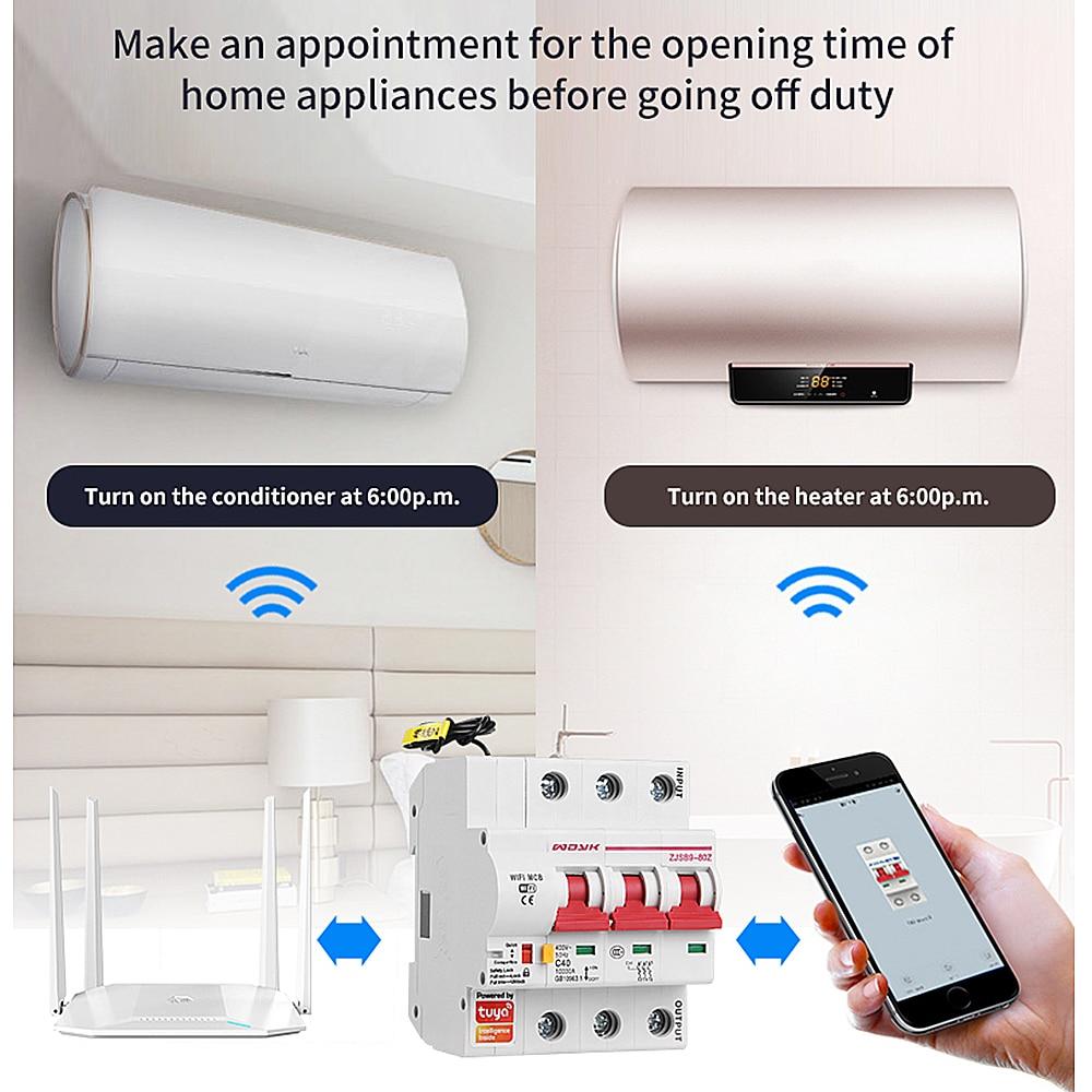 Smart Life(tuya) 3P WiFi Smart Circuit Breaker overload short circuit protection with  Amazon Alexa google home for Smart Home 2