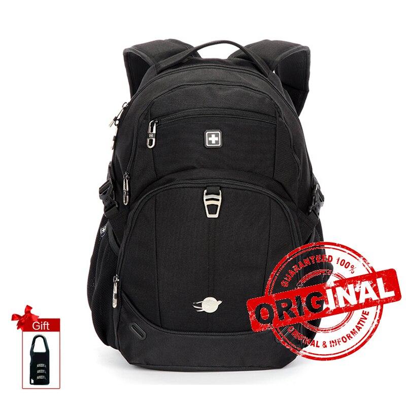Suissewin العلامة التجارية الرجال على ظهره الجيش للماء المرأة محمول حقيبة السفر Bagpack الخلفي حقيبة أسود أبيض كيس من دوس SN8043-في حقائب الظهر من حقائب وأمتعة على  مجموعة 1