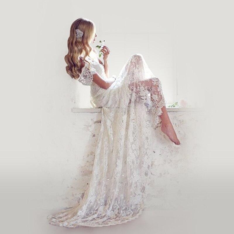 New Arrivals Lace Bohemian 2019 Scalloped Neck Open Back Bridal Gowns Vestido De Noiva 2019 Lace Mother Of The Bride Dresses