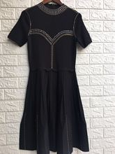 Autumn 2019 Black Dresses New Knitted Slim with Drills Zippers Women Dress
