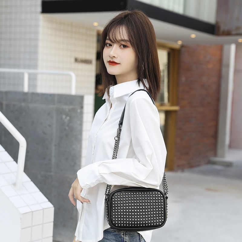 DIINOVIVO Marke Damen Hand Taschen Niet Kette Schulter Umhängetaschen Für Frauen Kleine Punk Messenger Taschen Weibliche Qualität WHDV1396