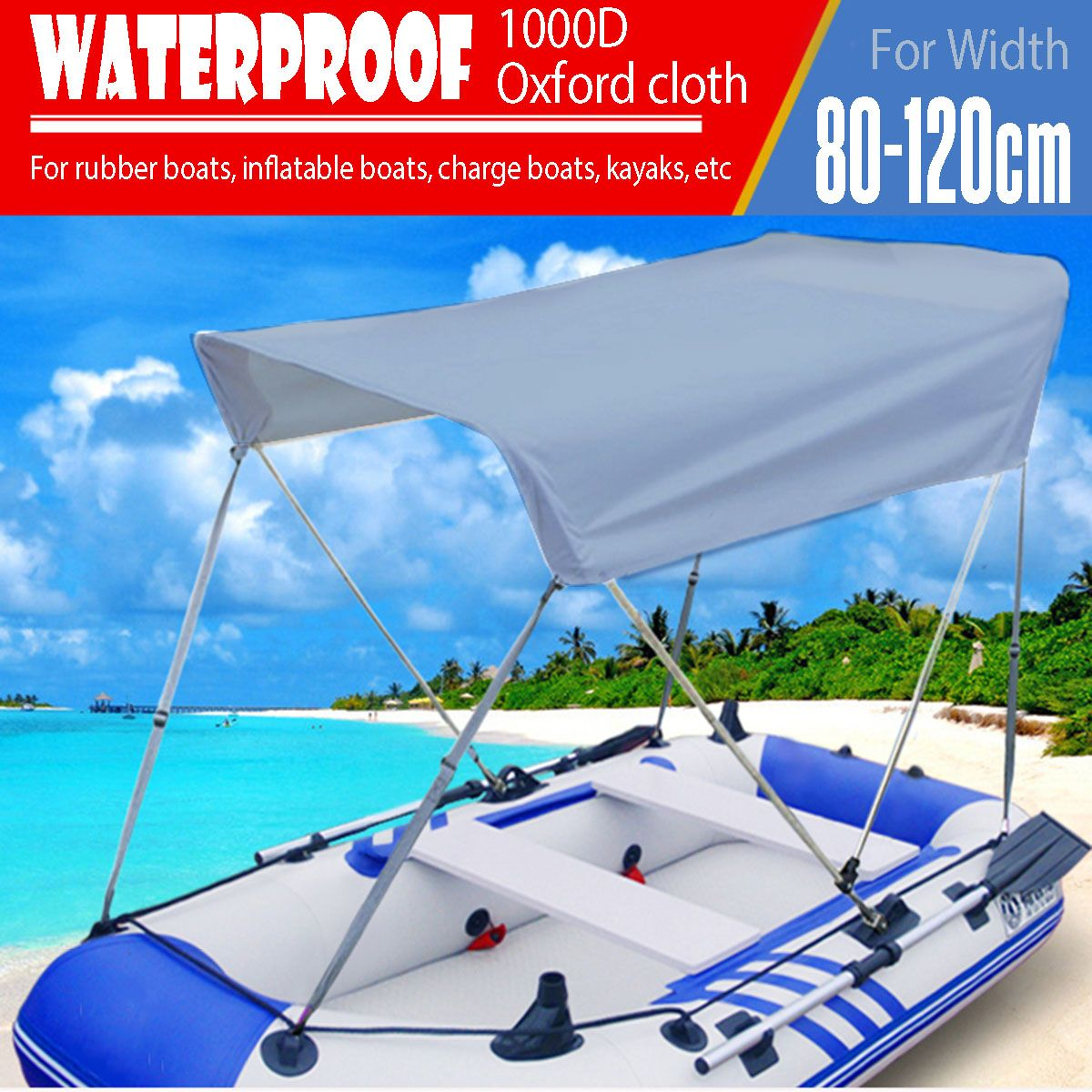 2 Person Inflatable Boat Sun Shelter Sailboat Fish Boat Awning Top Rowing Boats Cover Sunshade Rain Canopy Waterproof Surfing