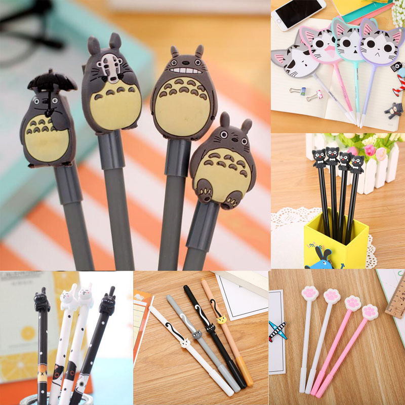 1pc Cute Cat Gel Pens 0.5mm Kawaii Novelty Neutral For Writing Office School Supplies Creative Korean Stationery