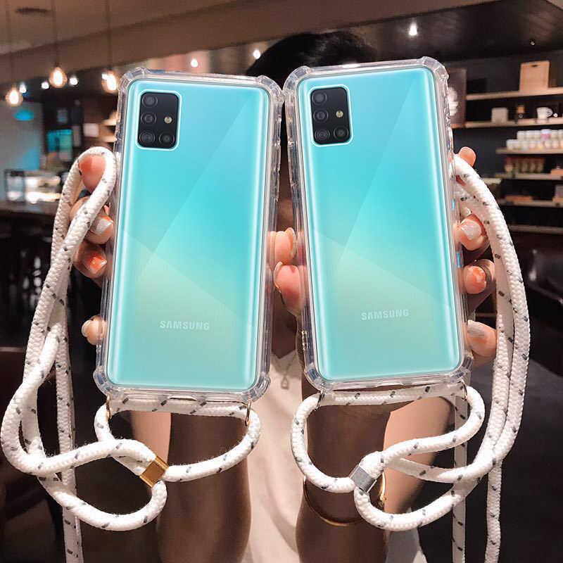 CROSS สายคล้องไหล่สำหรับ Samsung Galaxy A91 A81 A71 A51 A21 A01 A11 A20 E A30 A41 A50 A70 a6 A7 A9 2018 S20 Plus เชือกฝาครอบ