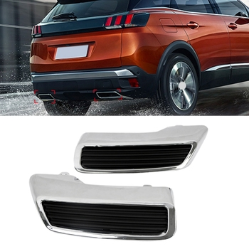 for Peugeot 3008 5008 Allure 2017 - 2019 Exhaust Pipe Tail Cover ABS Rear Exhaust Muffler End Pipe Decoration Trim Cover