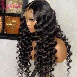 Необработанные человеческие волосы Ambition # 1b, парики с предварительно выщипанными черными свободными глубокими волнами, передние парики на ...