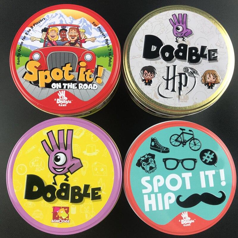 Dobble HP 16 styles Harried Spot It carte jeu jouet fer boîte Potter Sport aller Camping hanche enfants jeux de société cadeau animaux Alphabet123