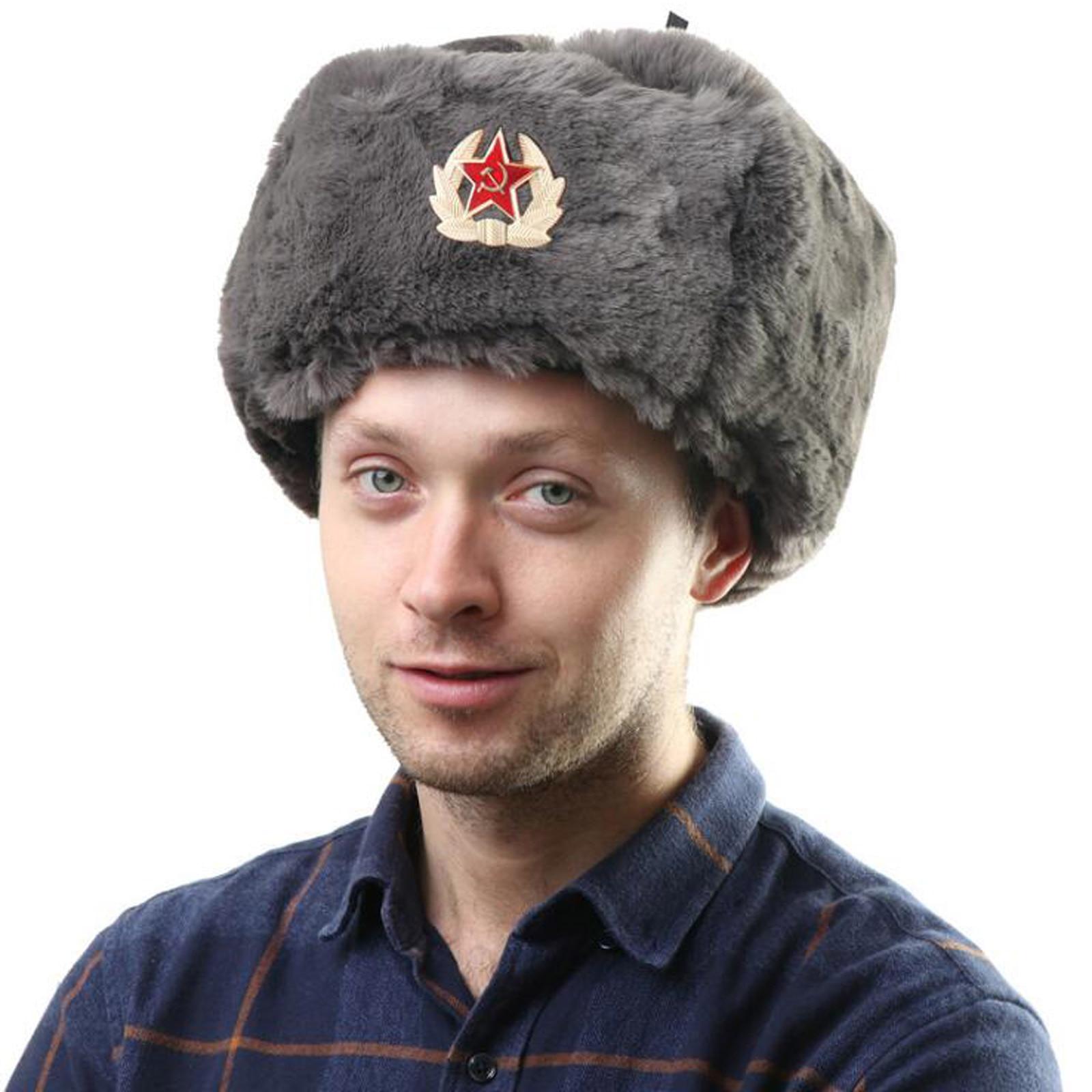 Unisex Fur Soviet Army Military Hat Badge Russia Hats Pilot Trapper Cap Winter Faux Rabbit Earflap Snow 55-60cm Waterproof Cap