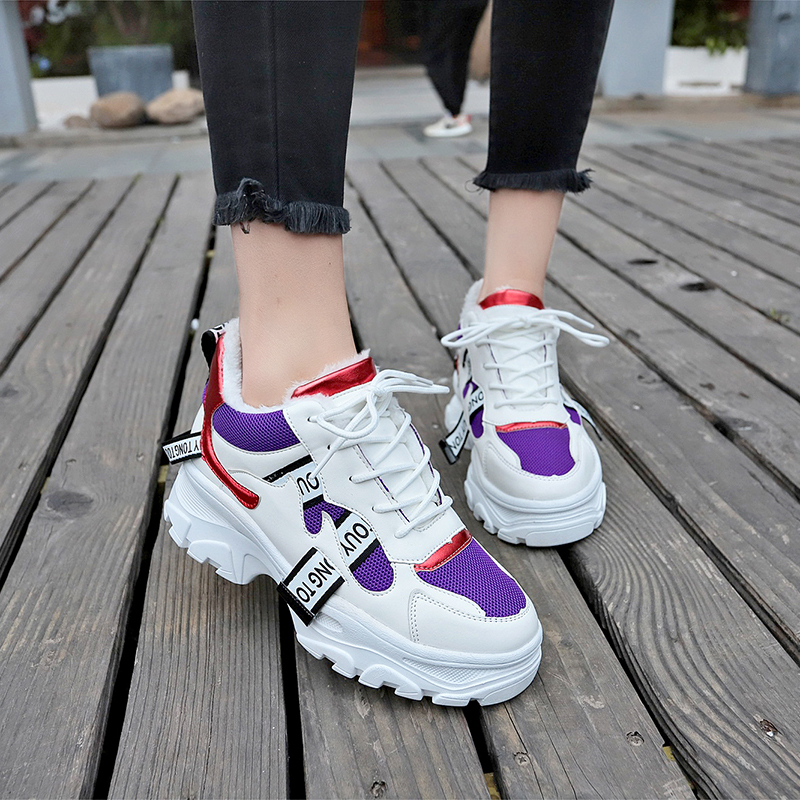 2019 Spring Leather Sneakers Women Platform Chunky Sports Shoes Fashion Breathable Flat Thick Sole Shoes Ladies Dad Footwear