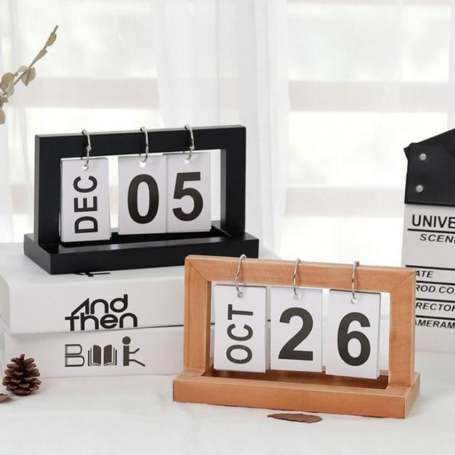 Office Wooden Vintage Home Calendar Cafe Desktop Decorative Rustic Ornaments DIY Flip Daily Planner Table Planner Calendar 1