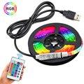 Цветная (RGB) Светодиодные ленты 2835 USB светодиодные фонари ИК-пульт дистанционного управления 1 м 2 м 3 м 4 м 5 м ленты LED диод ТВ гостиная Спальня ...