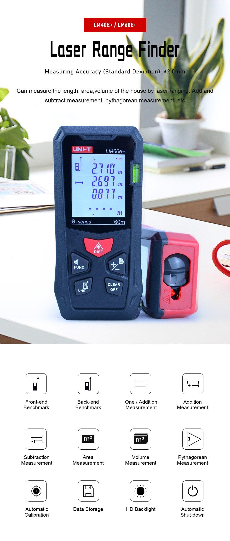 UNI-T llaser medidor de distância eletrônico roleta