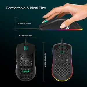 Image 2 - AJ390 ratón para videojuegos con luz LED, 6 colores, 16000DPI, ajustable, 7 teclas, diseño hueco, 69g, con cable para ordenador