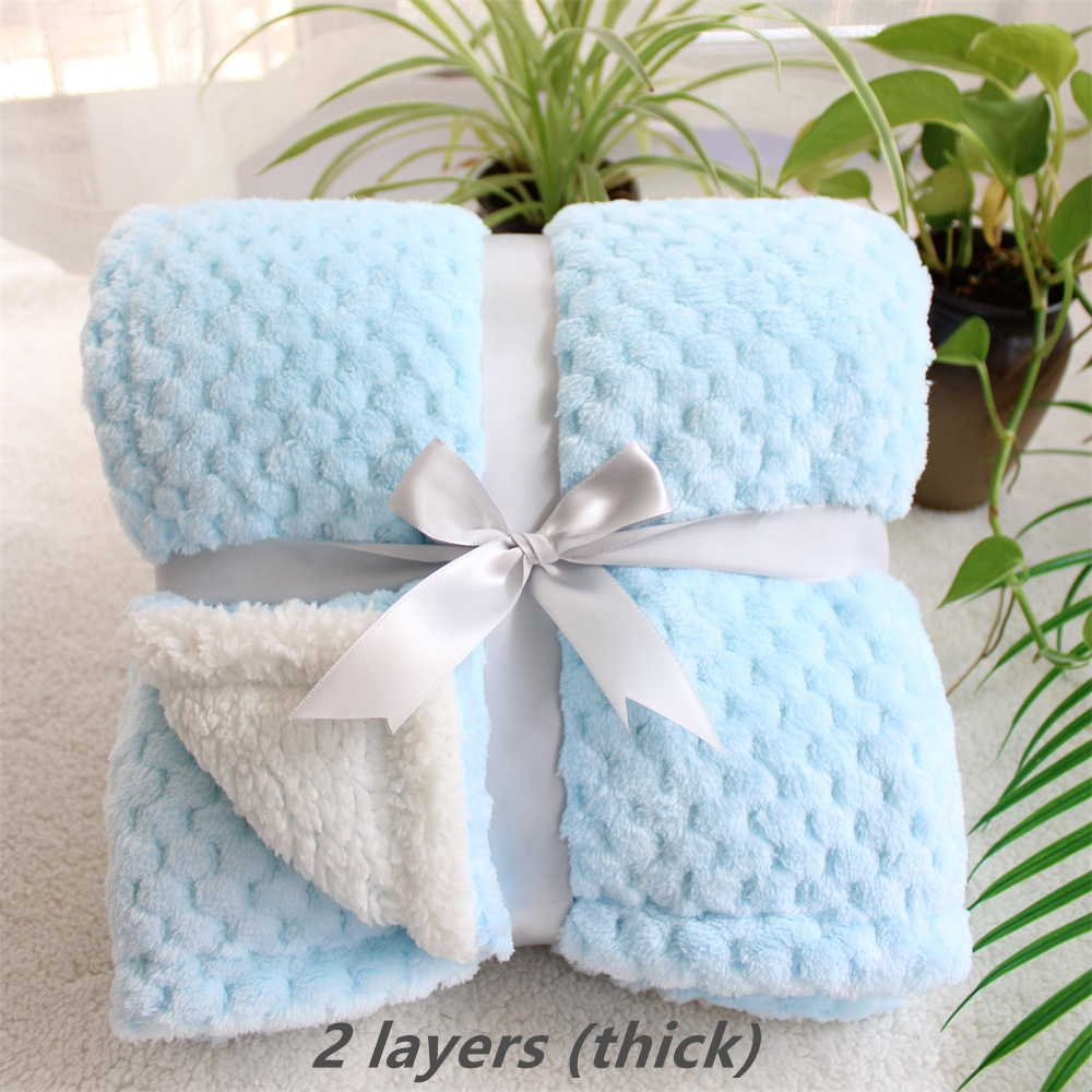 3D Fluffy Super Soft Kids Bed Spread Pink Blue Cozy Baby Blanket Spring Toddler Bedding Quilt Coral Fleece Furry Child Blanket