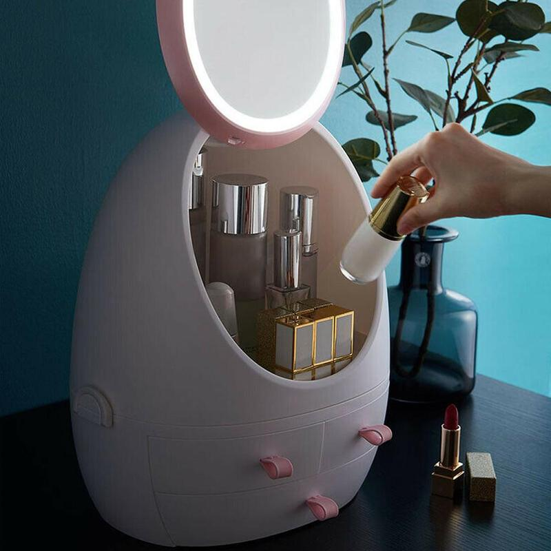 USB Rechargeable Makeup Dust Proof Cosmetic Storage Box Portable Waterproof Drawers Make Up Jewelry Container Mirror LED Light