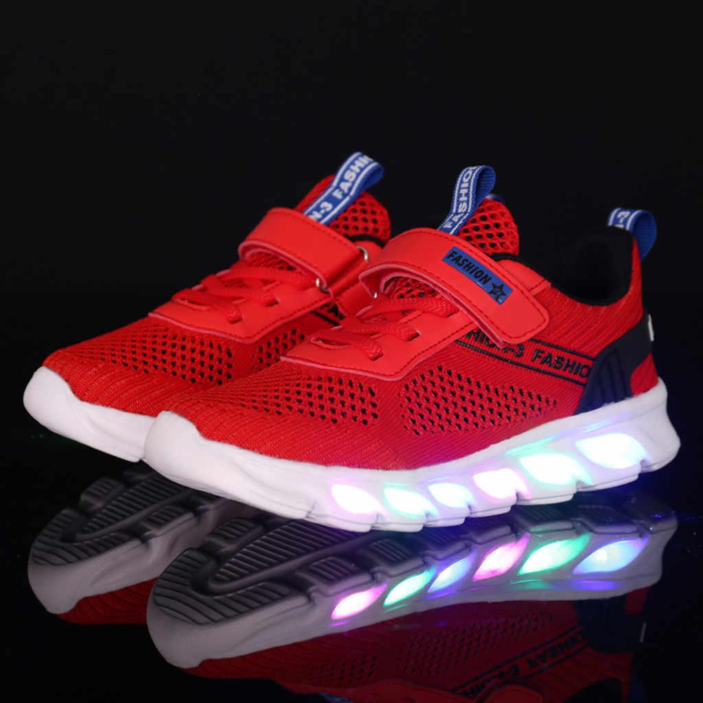 Zapatos de los niños zapatos chico zapatillas de deporte Bebé niñas niños rayas Bling botas para chico s luminosa Led deporte Zapatillas de deporte de malla zapatos con luz