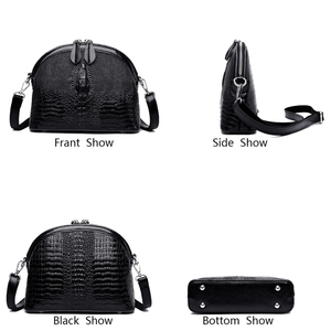 Image 3 - VANDERWAH Genuine Cow Leather Women Crossbody Bag Luxury Handbags Women Bags Designer Alligator Small Shell Bag Sac A Main Femme