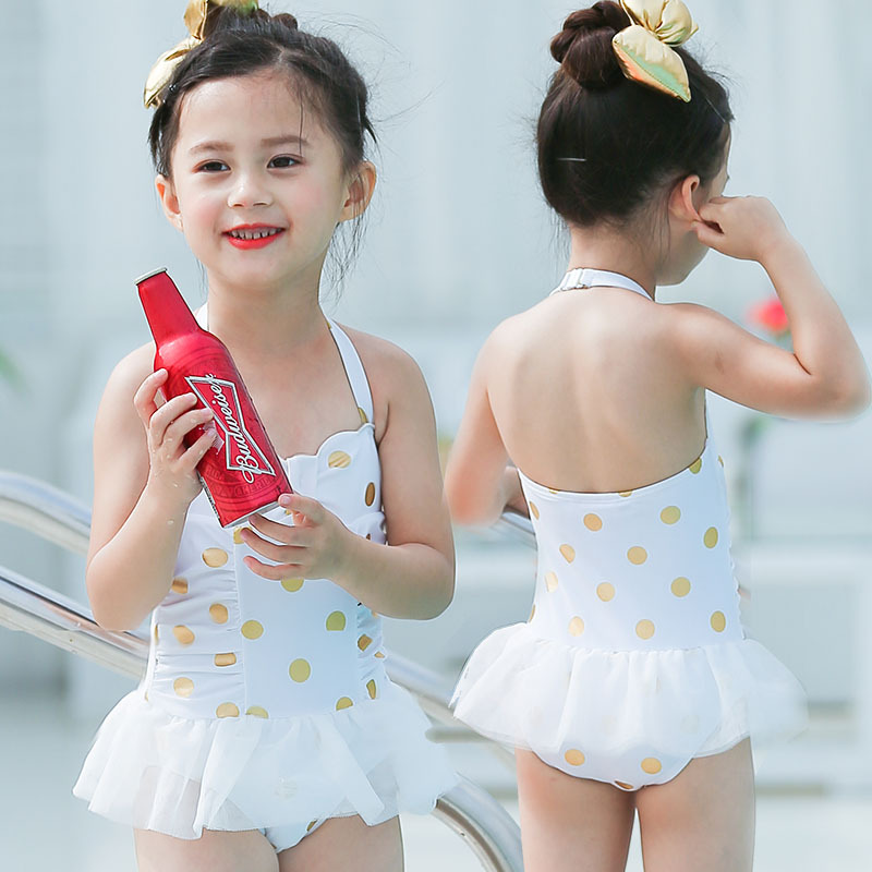 2019 New Style KID'S Swimwear Big Boy White Polka Dot Mesh Dress Cute GIRL'S Baby One-piece Hot Springs Swimwear