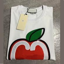 Модная летняя футболка с логотипом, Женская Повседневная хлопковая Футболка с вышитым принтом яблока, модные топы, футболки, женские футболки