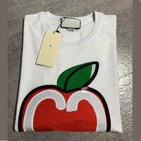 Have logo Fashion Summer T shirt woman Casual Cotton tshirt Letter Apple embroidered Print Fashion Tops Tees women's tshirts