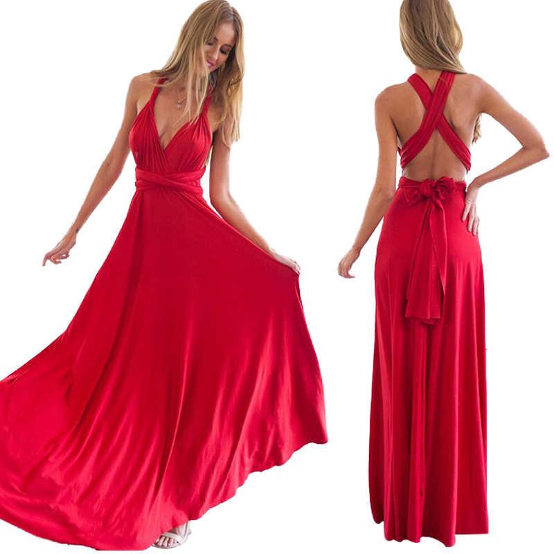 Nuovo Vestito da damigella d'onore Festa di nozze più aperto indietro sexy dalla fasciatura vestito lungo elegante delle donne Eucaristia del partito aperto indietro lungo vestito