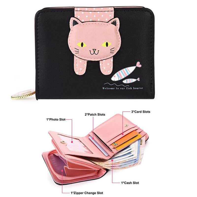 Women Designer Short Small Money Purse Wallet Lady  Folding Palm Card Holder
