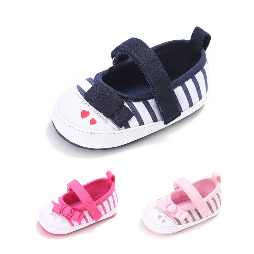 Newborn Crib Shoes Baby Girl Infant Lovely Bowknot Stripe Soft Cotton Easy On&off First Walkers Toddler Girl Moccasins Shoes