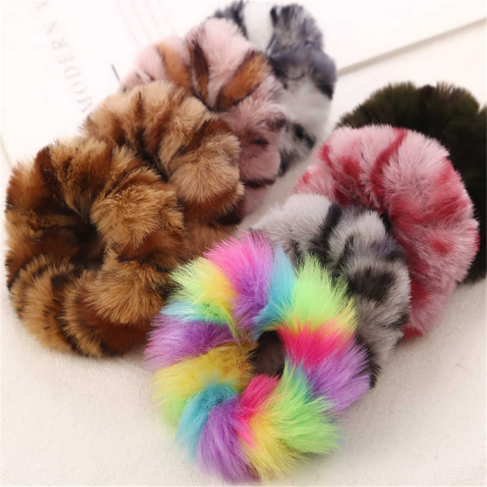 1 Pcs New Fashion Colorful Leopard Print Plush Fur Scrunchies Elastic Hair Bands For Girls Warm Ponytail Holder For Girl Women