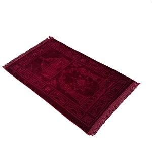 Image 2 - سجادة عادي مصلاة للمسلمين قماش راشيل القطيفة تتميز بتصميم مستطيل وهدب على كلا الجانبين سجادة للصلاة الإسلامية 65 × 110 سنتيمتر