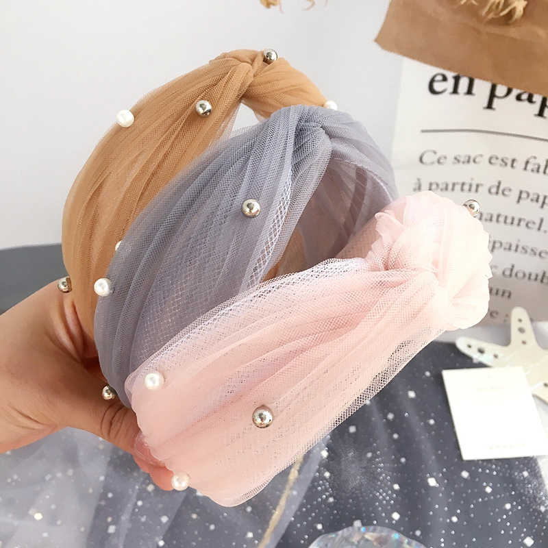 Korean Mesh Yarn  Beaded Cross Knotted Hair Bands for Women Pearl Hair Accessries Flower Headband for Girls Hair Bows Head Wrap