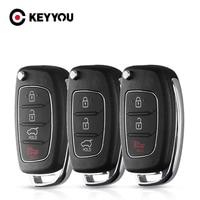 KEYYOU-carcasa de llave de coche para Hyundai Solaris Ix35 IX45 I30 ELANTRA Santa Fe, nueva Verna para Kia, 3/4 botones, mando a distancia, sin cortar