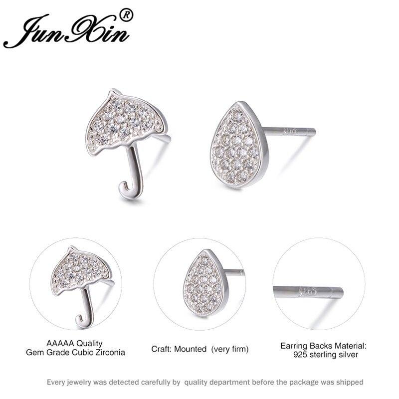 Cute Asymmetric Water Droplets Umbrella Earrings For Women White Gold Filled Wedding Stud Earrings For Women Zircon Jewelry Cz