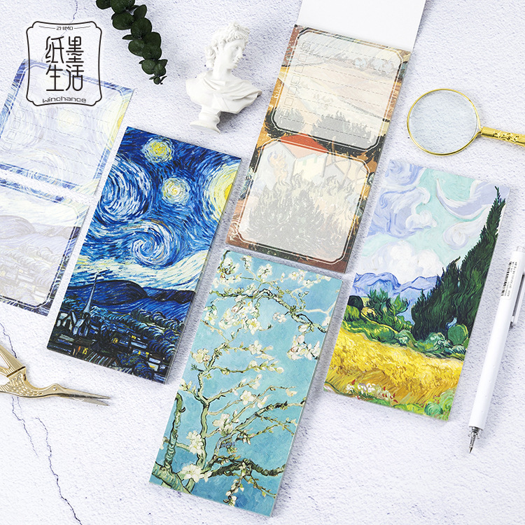 Vincent Van Gogh Note Pads Post It Planner 157*80mm 30 Pages Art Supplies Cute Sticky Note Set Gift Memo Sheet