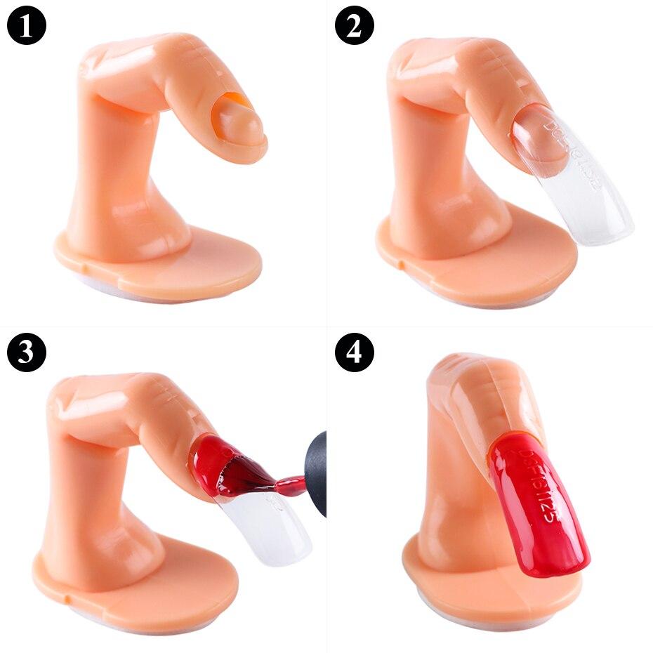 STZ Professional Fake Nail Art Finger Practice Model Manicure Training False Hand Gel Polish Display Tools Plastic Acrylic 6