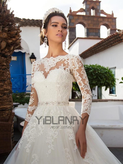Luxury Wedding Dress Lace Beading With Princess Ball Gown O-neck Full Sleeve Bride Gowns Sashes Bow Lace Up Robes De Mariée 3
