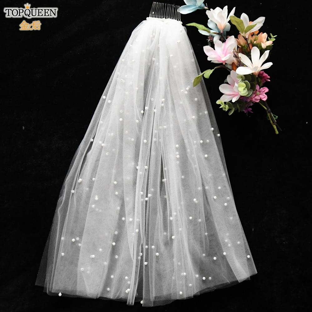 TOPQUEEN V07 2 Tier  Wedding Veil Pearl White Ivory Wedding Veil Luxury Communion Veil Elbow Length Veil Bridal Veil with Comb