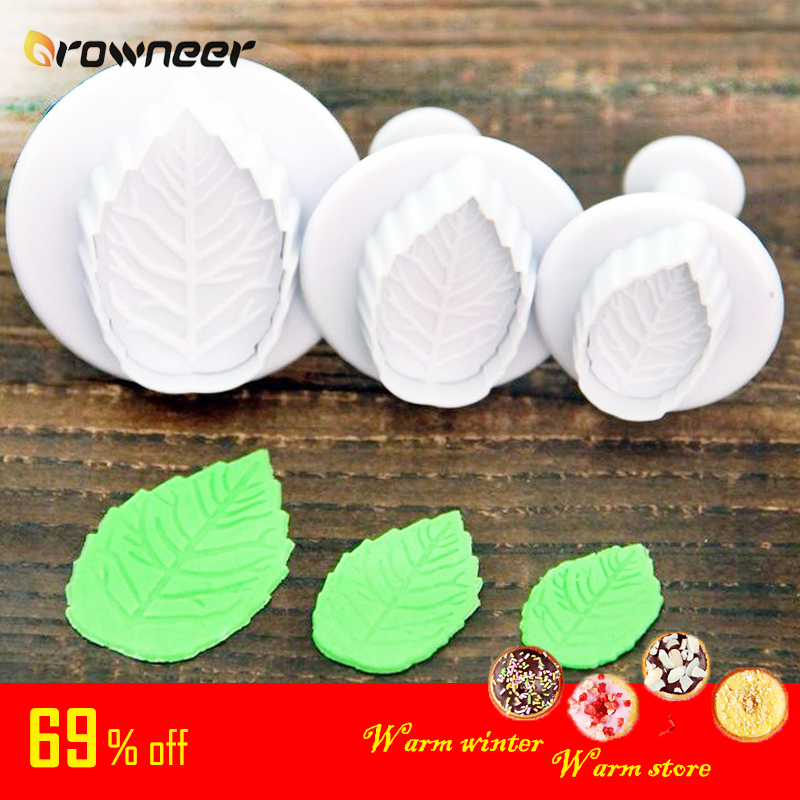 3 Pcs Leaf Mold DIY White Plastic Cookie Cake Plunger Biscuit Fondant Cutter Craft Baking Decorating Tools Pastry Bakeware