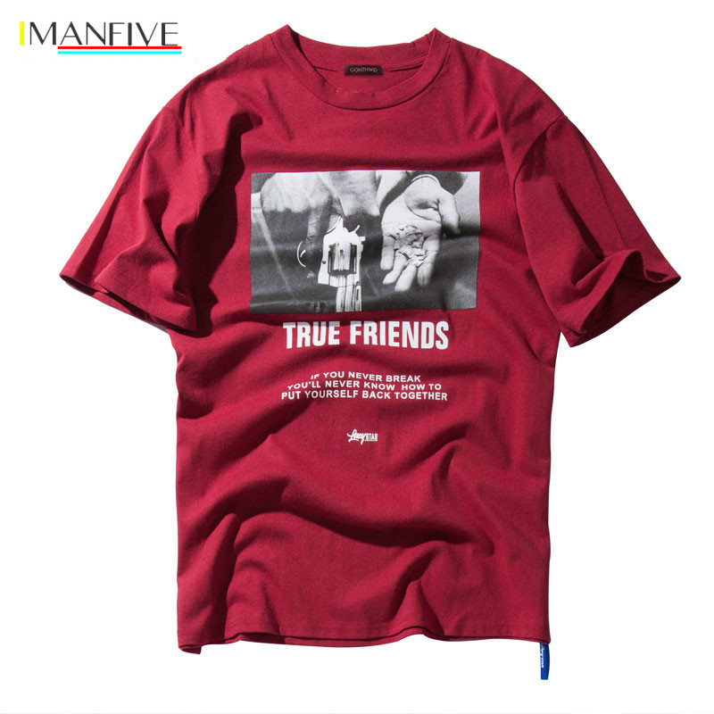 IMANFIVE Hip Hop Hands Printed Short Sleeve T Shirts 2019 New Spring Summer Casual Cotton Tops Tees Mens Streetwear Tshirts in T Shirts from Men 39 s Clothing