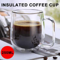 Double Wall Coffee Mugs 250ml Dining Container Clear Drinks Insulated Glass Cup Creative Milk Beer Bar Thermal Tea Cup