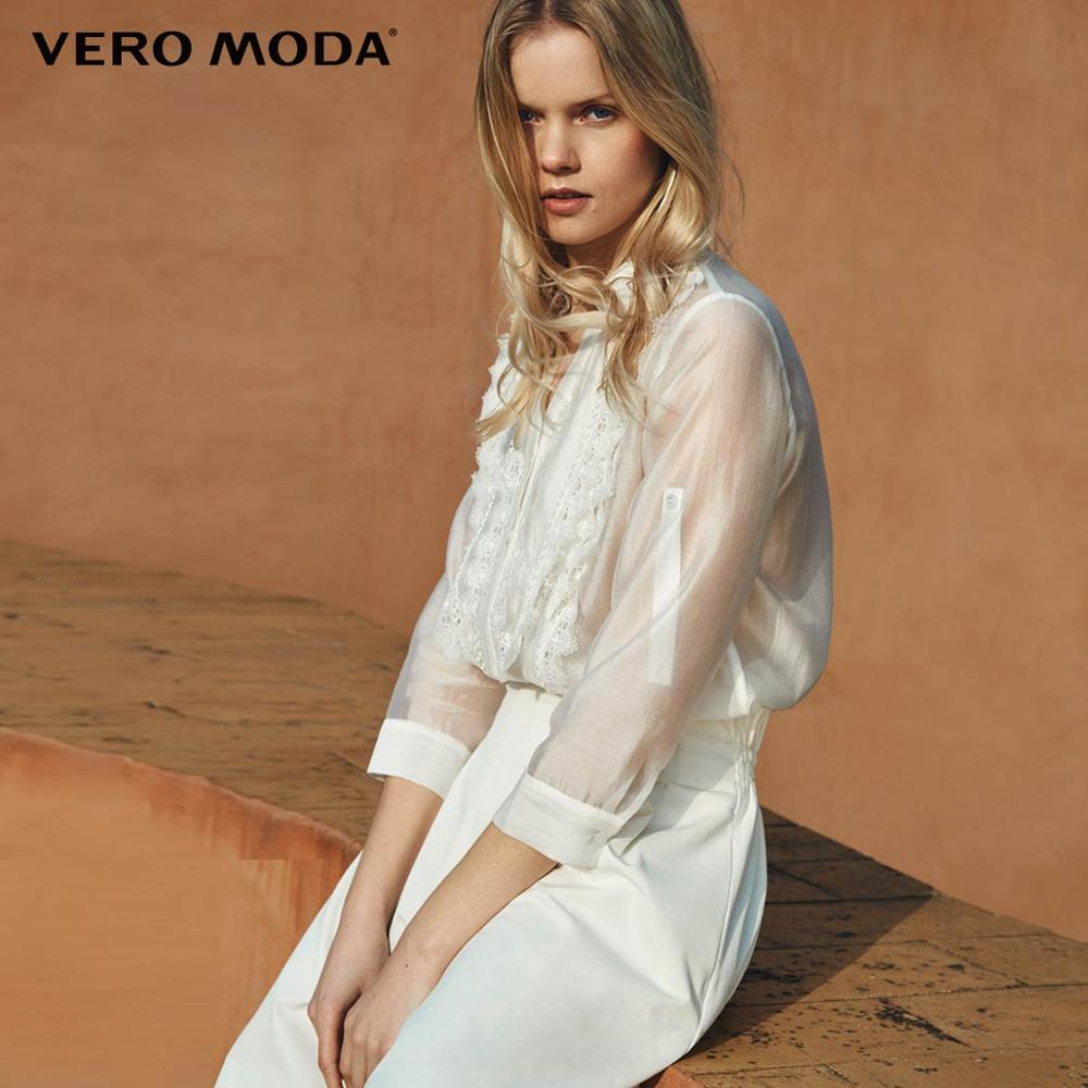 Vero Moda Women's Laced Turn-down Collar 3/4 Sleeves Shirt | 319231546
