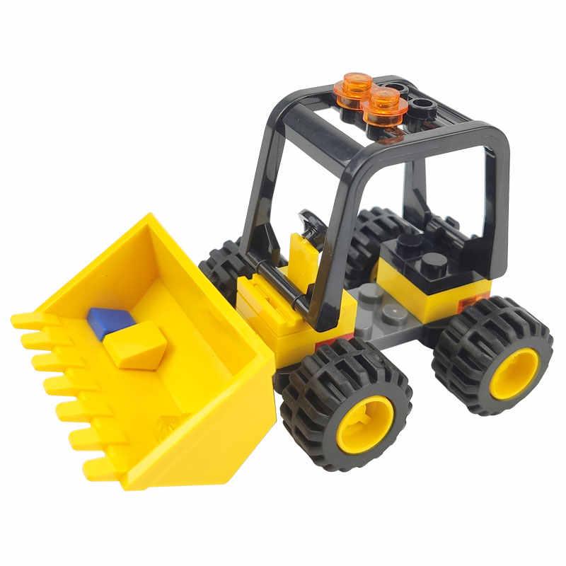 ロック市車ブロック警察エンジニアフォークリフト作業員として働く掘削ローラーのビルディングブロックのおもちゃ子供市ロック車ブロック