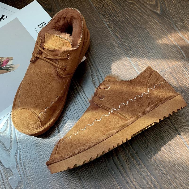 2019 New Snow Boots Female Short Tube Bread Cotton Shoes Women's Winter Plus Velvet Warm Fashion Casual Boots 48