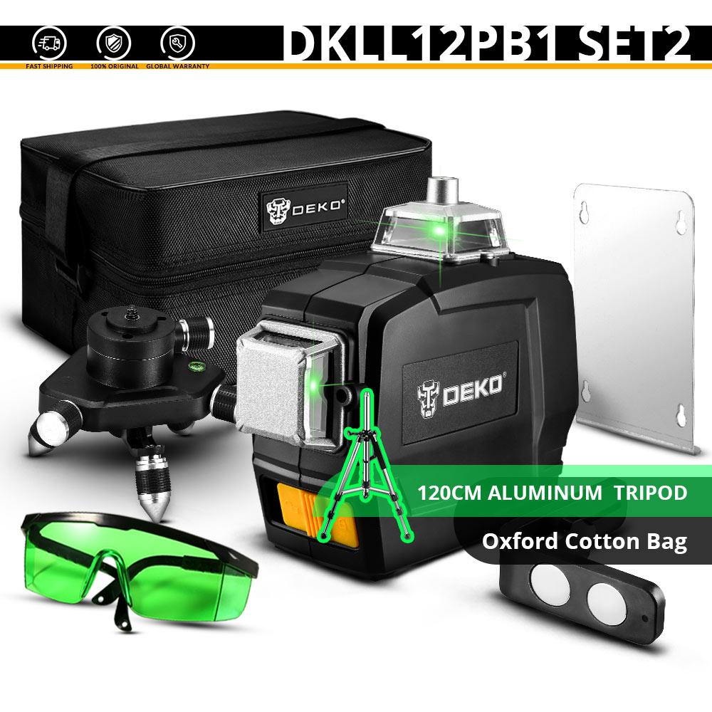 DEKO DKLL12PB1 12 линий 3D зеленый лазерный уровень Горизонтальные и вертикальные поперечные линии с автоматическим самонивелированием, в помещении и на улице - Цвет: DKLL12PB1 SET2