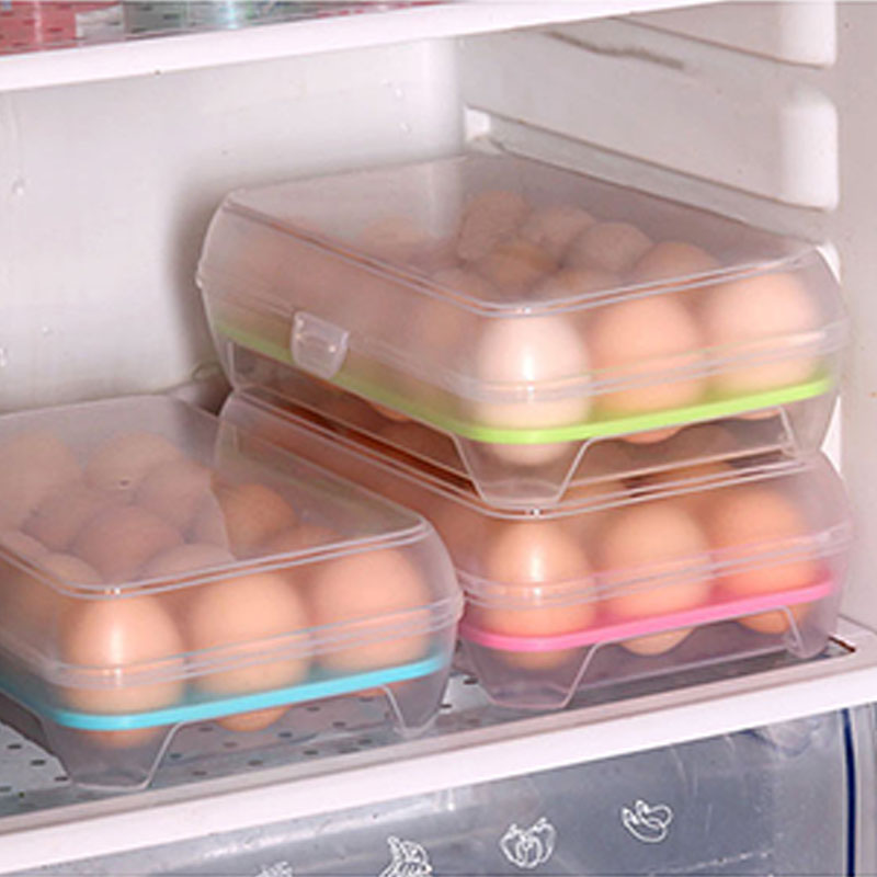 15 Grid Kitchen Refrigerator Single Layer Egg Box Storage Box Practical Creative Home Portable Plastic Picnic Food Storage Box